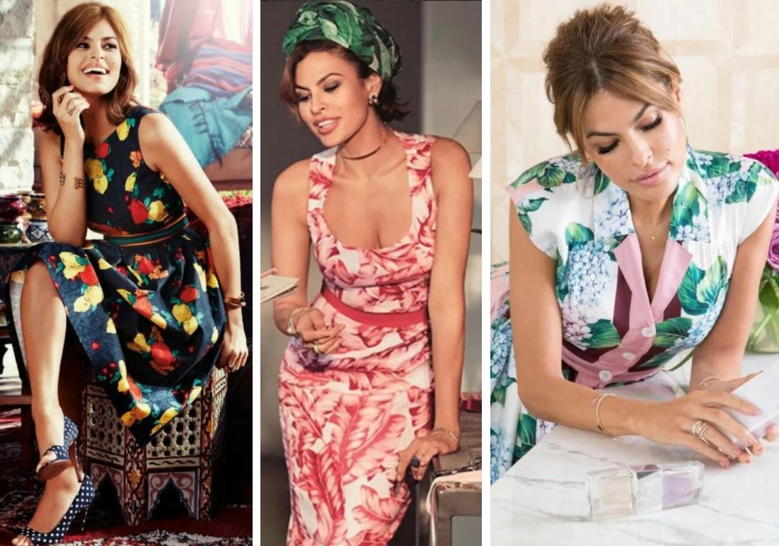 ева мендес стиль и типаж по кибби, яркие принты, цветочный принт