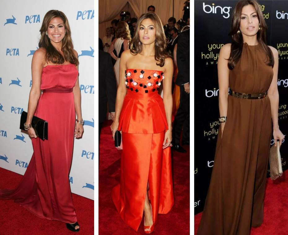 ева мендес стиль и цветотип по кибби, красный, оранжевый, коричневый цвет