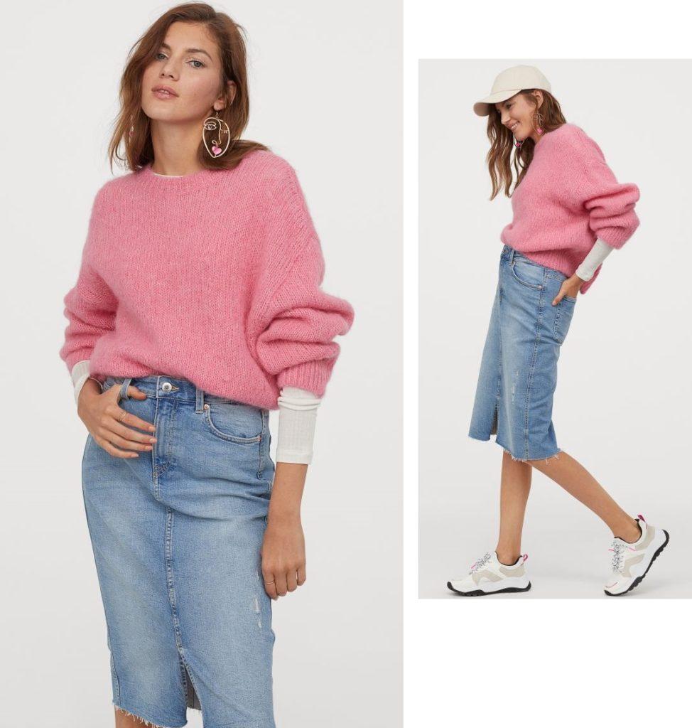 джинсовая юбка карандаш с чем носить